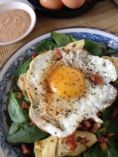 Post image for Sunny Side Up Spinach Salad with Artichoke Hearts, Pancetta Crisps & Creamy Creole Dressing {Dole~EatingWell Giveaway}